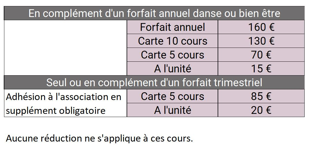 Tarifs saison 2016/2017